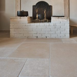 Cèdre Gray natural beige stone Flooring - Aged Finish, Custom Format