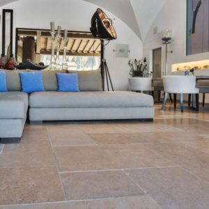 Beige stone interior floor slabs