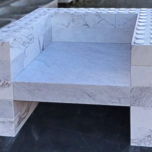 Carrara White Marble Construction Game Chair - Original Custom Design