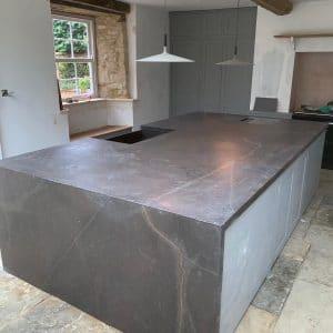 Black natural stone worktop