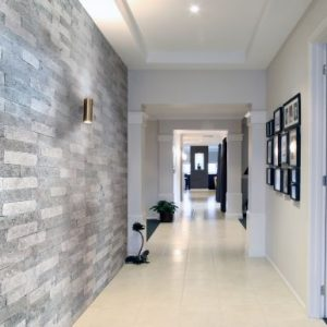 Grey natural stone interior siding in different shades