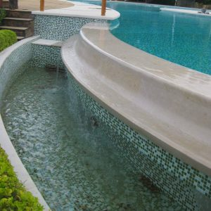 Special room for swimming pool in natural stone