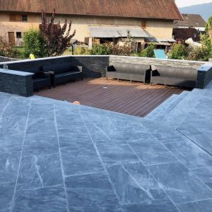 Blue of the Nil marble terrace and steps - Sandblasted finish